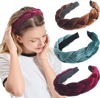 iloovee 3 Pack Velvet Headbands for Women Thick headband 90S Vintage Alice Braided Hair Bands Hair Hoop Elastic Hair Accessories for Women Girls Cute Womens Headbands