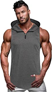 Men's Workout Hooded Tank Tops Sleeveless Gym Hoodie Cut Off T Shirt Lace-up Bodybuilding Muscle Hoodie