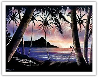 Pacifica Island Art Sunrise Over Diamond Head - Vintage Hawaiian Black Velvet Art by Frank Oda (Hale Pua Studio) c.1940s - Hawaiian Fine Art Print - 11in x 14in