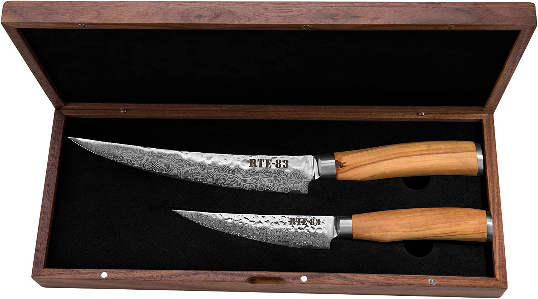評価 Route83 Signature Prime 新作製品、世界最高品質人気! Rib Brisket Bon Steel Two Damascus Knife