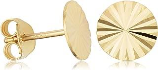 KoolJewelry 14k Yellow Gold 8mm Diamond-cut Disc Stud Earrings Minimalist Jewelry
