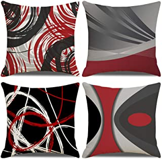 LAXEUYO Housse de Coussin 45x45, Lot de 4 Coton et Lin Décoratif Canapé Home Decor Taie d'oreiller Super Doux Decoration M...