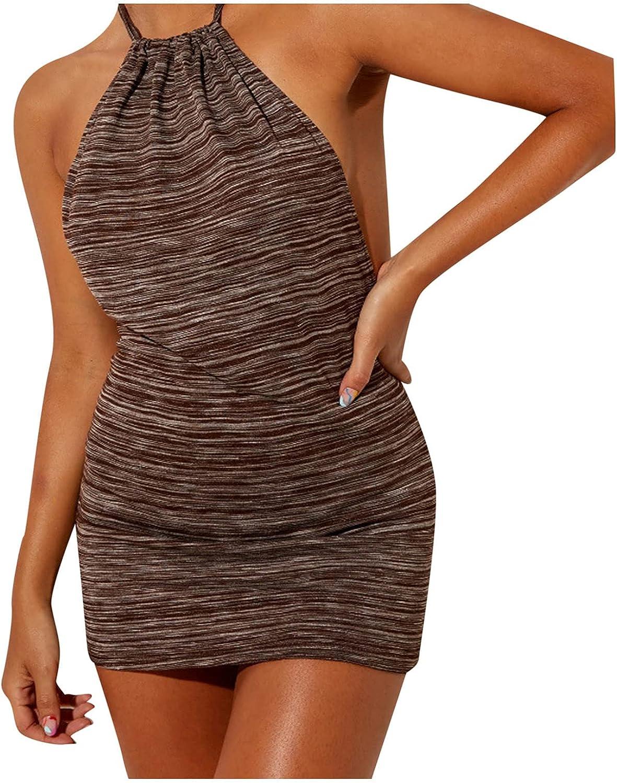 NRUTUP Womens Sexy Bodycon Dresses Casual Solid Halter Neck Sleeveless Backless Midi Dress Summer Beach Tank Dress