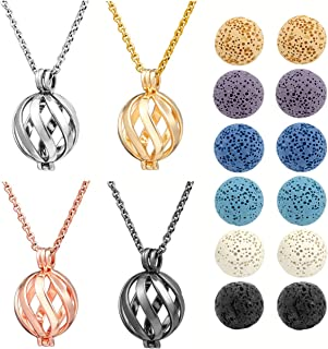 Top Plaza 4 Pcs Lava Rock Stone Aromatherapy Essential Oil Diffuser Necklace Fashion Twisted Ball Locket Pendant With 12 Dyed Lava Stone Balls