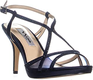 Nina Blossom Slingback Bejeweled Open Toe Sandals, New Navy