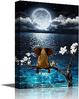 Canvas Wall Art Blue Ocean sea Animal Resting Elephant Look Moon Framed Wall Art Giclee Wall Decor on Canvas Stretched Art...