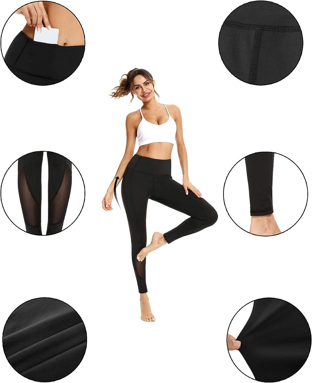 Sykooria leggings yoga donna vita alta leggings sportivi push up con Tasche pantaloni da Allenamento elastico con strisce riflettenti per Fitness,palestra,jogging,Correre,Pilates S-XXL