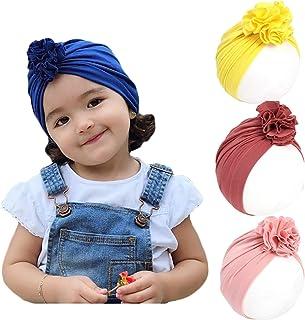 Richaa Gorro para recién nacido, bonito gorro con lazo grande suave anudado, diademas elásticas, diademas para el pelo par...