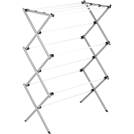 Honey-Can-Do DRY-01306 Folding 42-Inch Clothes Drying Rack, Silver/White