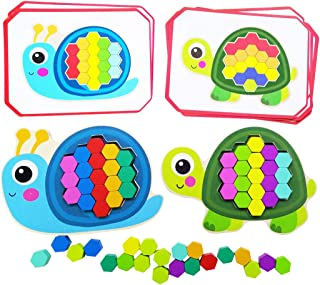 WEYFLY Play Pattern Puzzle - Snail and Turtle, Complementary Color Puzzle Children Creative Learning Wooden Toys 67Pcs for Kids Age 3+