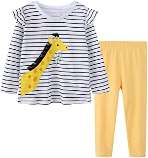 Sponsored Ad - Girl Long Sleeve Shirt Pants Set Cotton Casual Unicorn Ruffled T-Shirt Leggings Playwear Outfits 2 Pieces C...