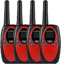FLOUREON 4 Packs Walkie Talkies Two Way Radios 22 Channel 3000M (MAX 5000M Open Field) UHF Long Range Handheld Talkies Talky (Red)