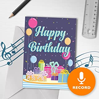 Happy Birthday Card With Music | Musical Birthday Card, Happy Birthday Greeting Card, Birthday Present 00014 (120 Second Recordable)