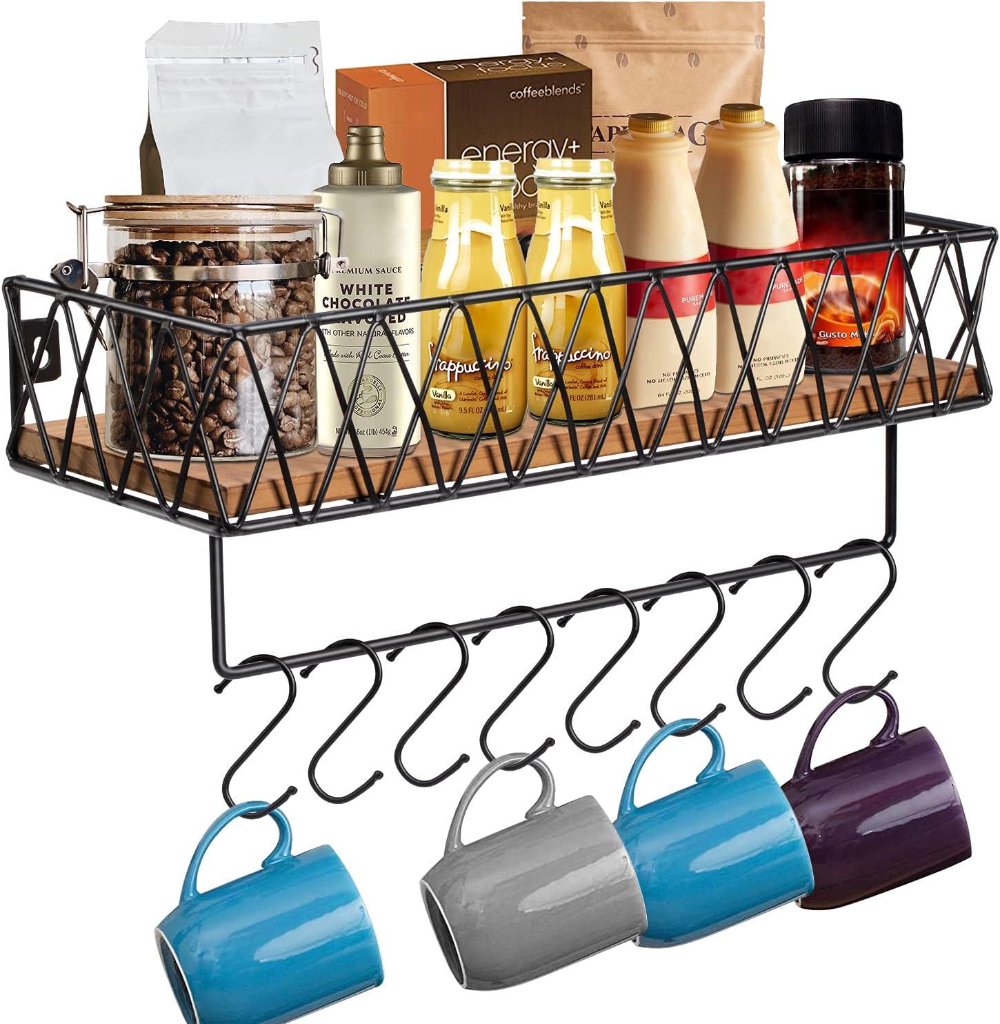 Coffee Mug Holder, Wall Mounted Coffee Mug Rack with Rails and Towel Bar, Rustic Wood Coffee Cup Holder with 8 Adjustable Hooks, Coffee Cup Rack, Coffee Station, Utensils Hooks Hanger