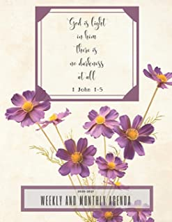 """God is light; in him there is no darkness at all 1John 1-5: 2020-2021 Weekly And Monthly Agenda- 32 Pages - 8.5""""X11"""""""