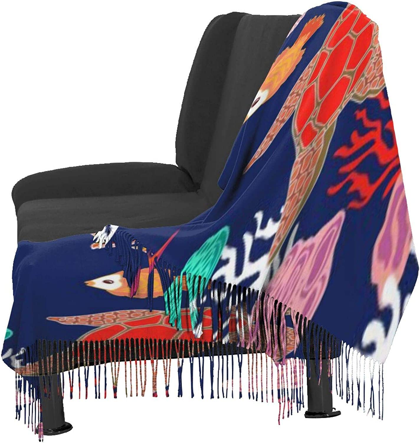 Cashmere fringed scarf Cartoon of Sea Life winter extra large scarf