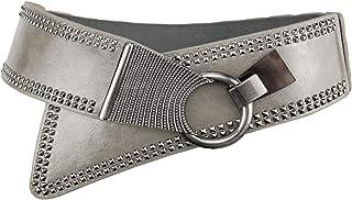 e61ab2a7dd34f Women's Fashion Vintage Wide Waist Belt Elastic Stretch Steampunk Waistband  With Interlock Buckle