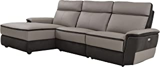 Homelegance Laertes Two-Tone Power Reclining Sofa with Left Side Chaise Top Grain Leather Fabric Match, Light Grey