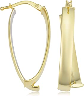 KoolJewelry 14k Two-Tone Yellow and White Gold Bypass Oval Hoop Earrings (14x31 mm)