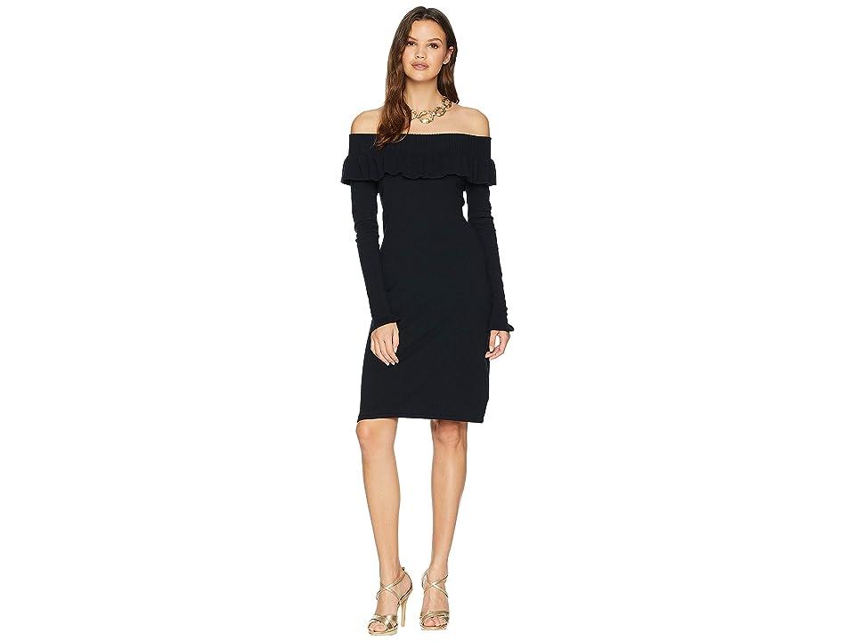 Lilly Pulitzer Moda Off-the-Shoulder Sweater Dress (Onyx) Women
