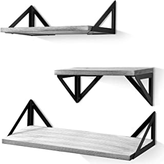 Best BAYKA Floating Shelves Wall Mounted, Rustic Wood Wall Shelves Set of 3 for Bedroom, Bathroom, Living Room, Kitchen Gray Review