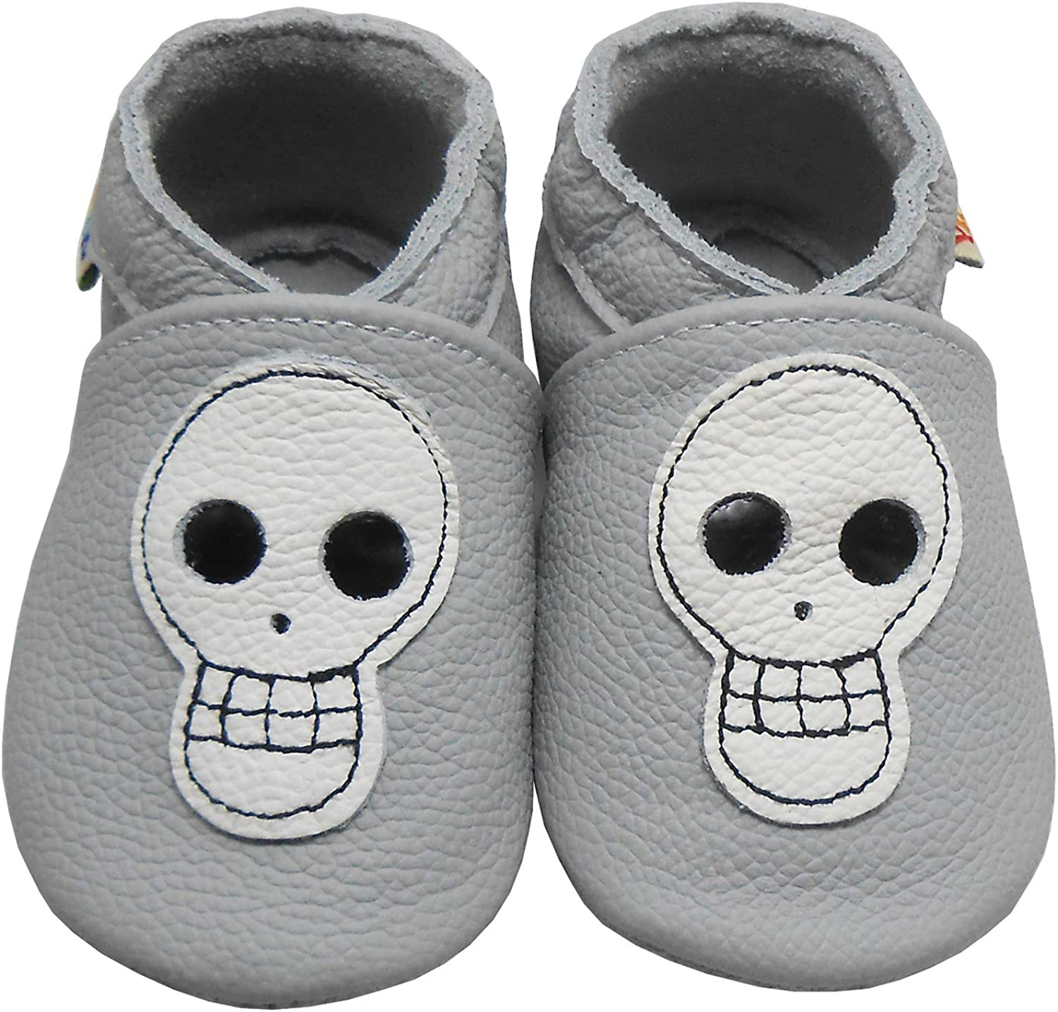 YALION Baby Soft Sole Leather Shoes Infant Toddler Tassels Moccasin Skull Ghost (Grey Skull, 6_Months)