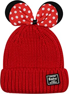 KINGSEVEN Kids Girls Winter Knit Hat Causal Beanie Hat Warm Skull Cap with Cute Bowknot