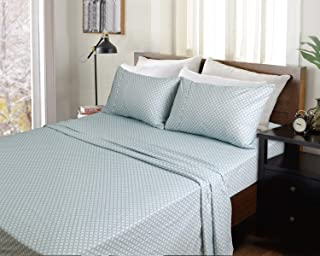 MARQUESS Flannel Sheet Set,Warm Sheets, Ultra Soft Comfortable 4 Pieces Bedding Breathable & Luxury(Twin XL, Sky Blue Flower)