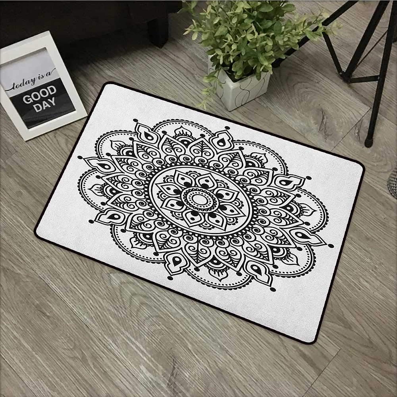 Interior mat W35 x L59 INCH Henna,Symmetrical Ethnic Flower Pattern Eastern Culture Inspired Monochrome Mandala Design, Black White Easy to Clean, no Deformation, no Fading Non-Slip Door Mat Carpet