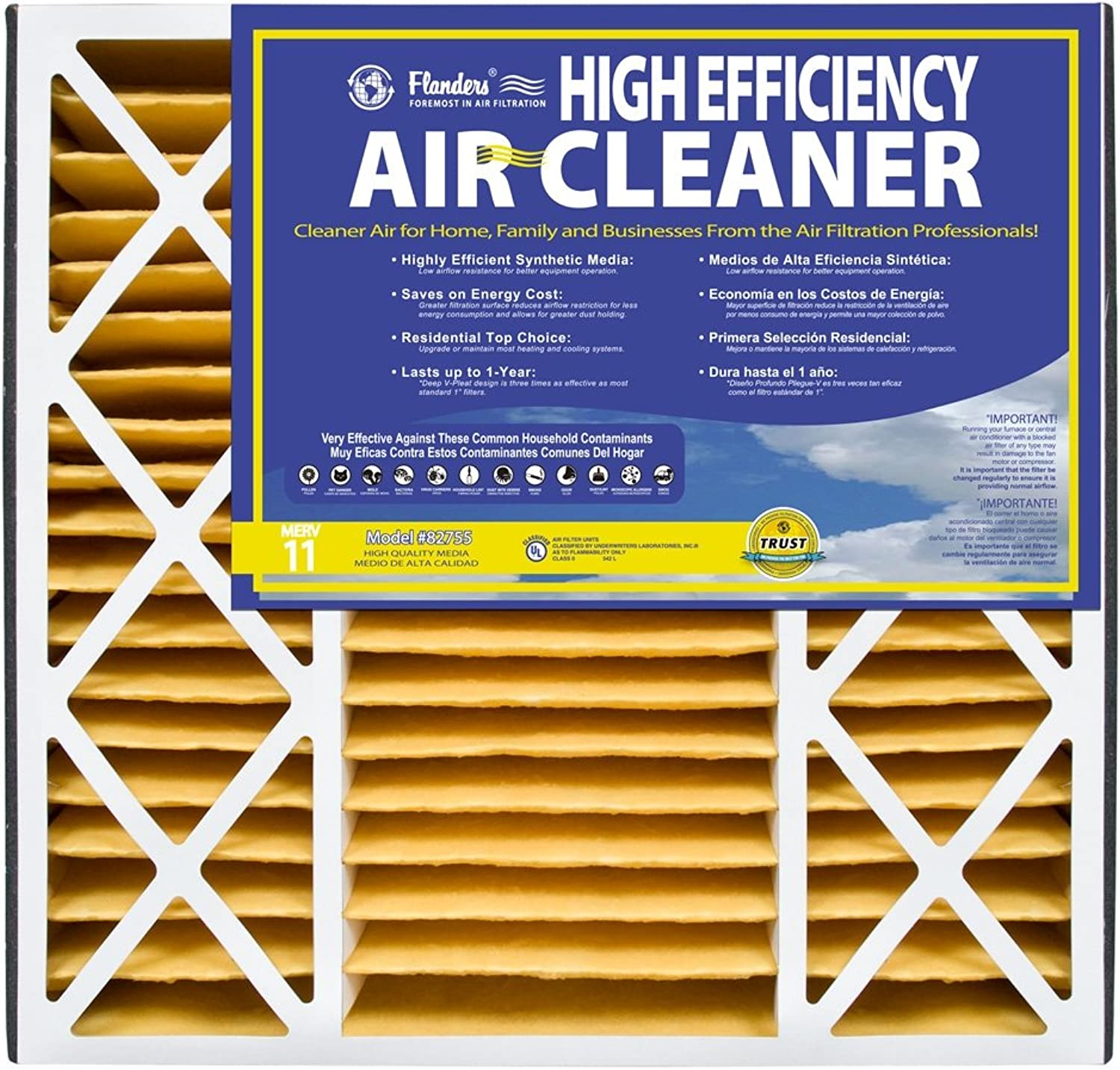 NaturalAire High Efficiency Air Filter, MERV 11, 16 x 25 x 5-Inch, 2-Pack