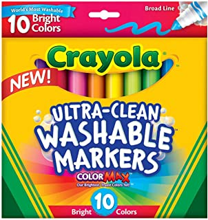 Crayola 8 Ct. Ultra-Clean Washable Bright, Broad Line, Color Max Markers, For Kids