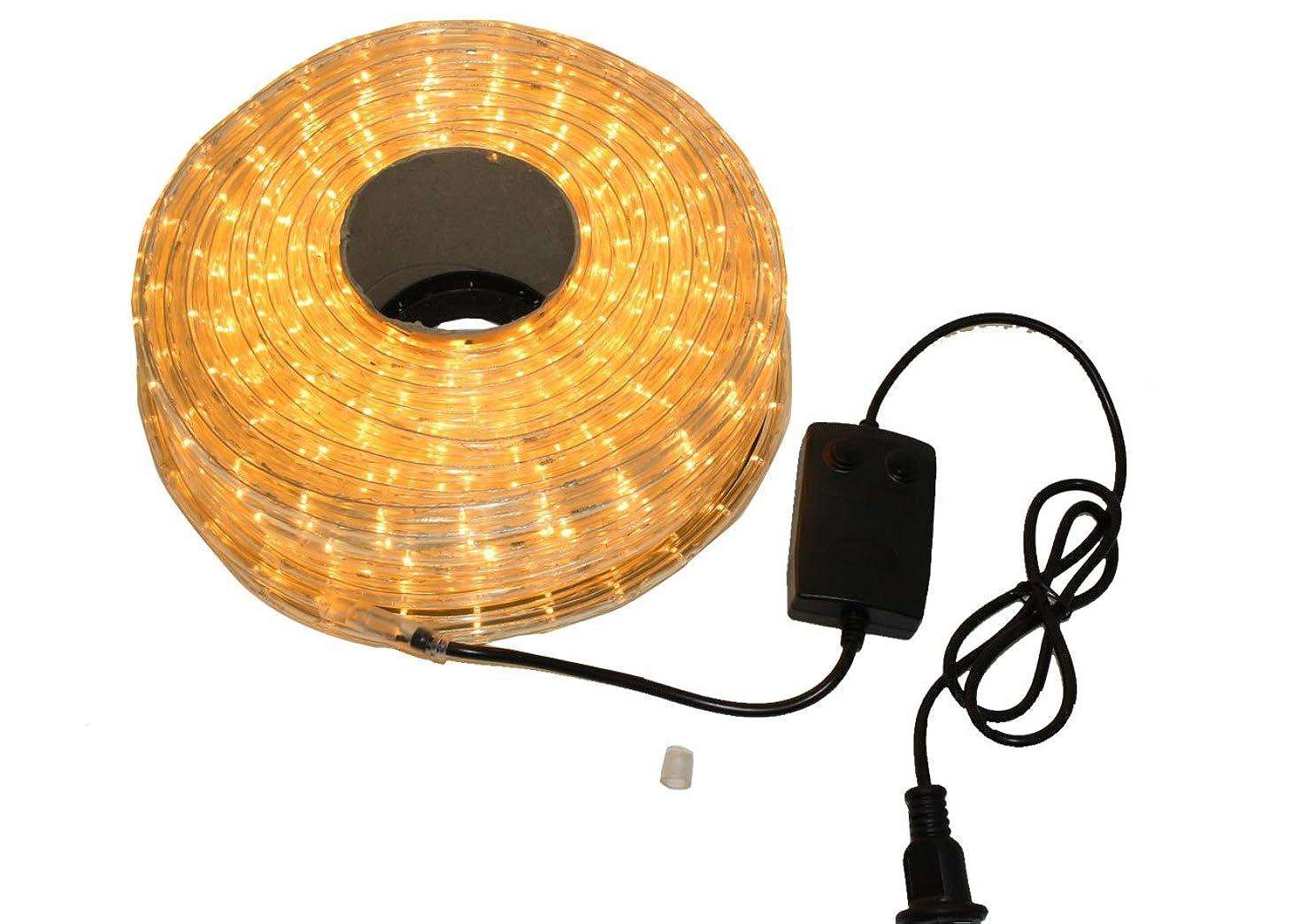 困難プレーヤー抵抗するクリスマス イルミネーション 2芯 丸型 防水 ロープ ライト 1500 LED / 50m ゴールド 28種類 コントローラー セット