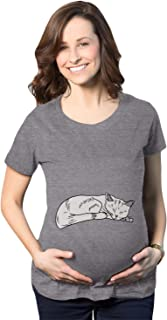 Maternity Cat On Baby Bump Tshirt Funny Adorable Kitty Pregnancy Tee