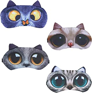 4 Pack Funny Eye Sleep Mask Soft Blindfold Eye Cover Eyeshade with Adjustable Strap for Women Men Girls Boys