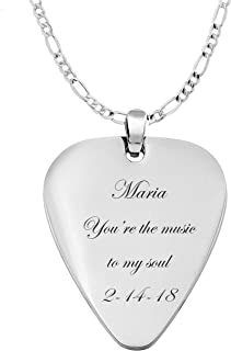 Personalized Silver Stainless Steel Guitar Pick Necklace Pendant Custom Engraved Free