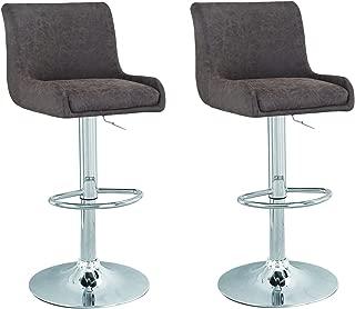 Adeco Cushioned Adjustable Swivel Counter Barstool Chair, dark brown