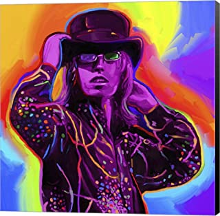 Pop Art Tom Petty by Howie Green Canvas Art Wall Picture, Museum Wrapped with Black Sides, 12 x 12 inches