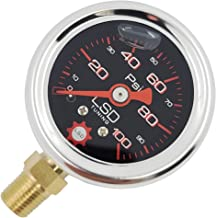 LSD TUNING USA Pressure Gauge for Fuel and Oil - Liquid Filled 0-100 Psi (Black)