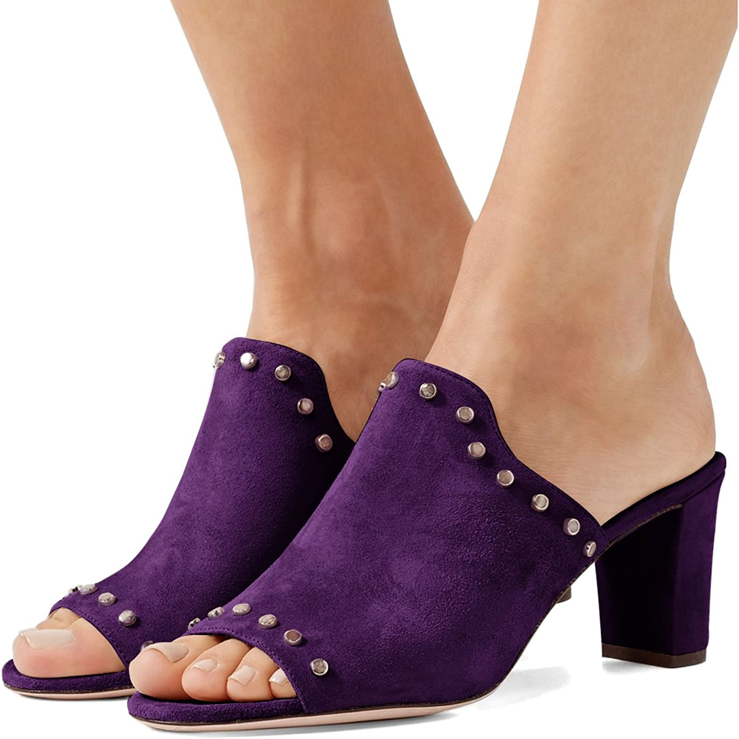 FSJ Women Peep Toe Mules Chunky Heeled Sandals with Studs Casual Slip On Summer shoes Size 4-15 US