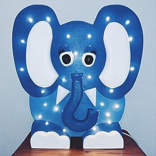LuMagical Blum l'Elefante: luce notturna in legno fatta a mano per bambini Collezione di animali - Lampada da comodino a L...