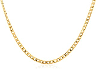 Benevolence LA Gold or Stanless Steel Cuban Link Chain Men's Necklace | 24k Gold Plated Stainless Steel Curb Necklace | Cl...