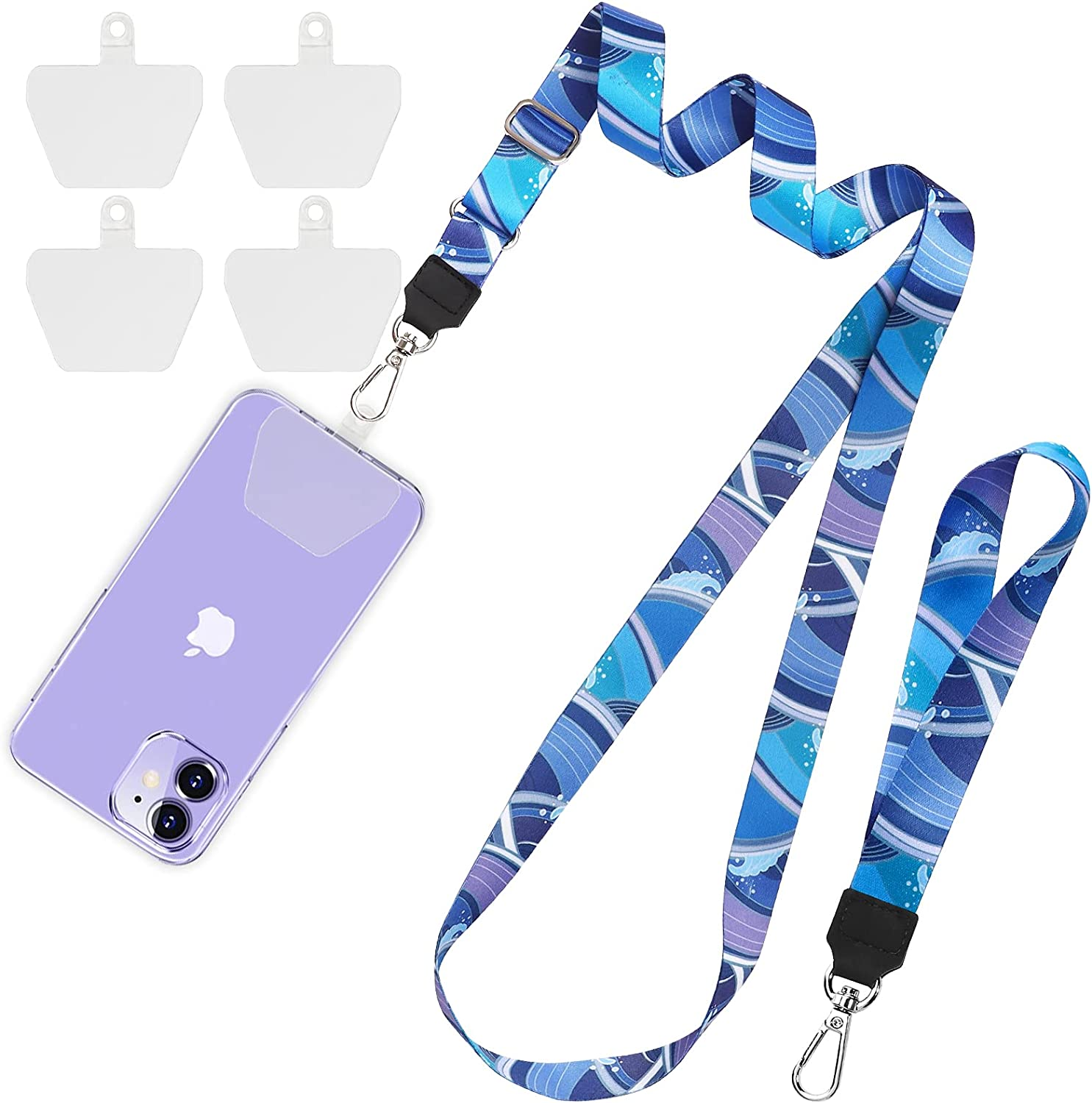 SHANSHUI Phone Lanyard Neck Crossbody Wrist Strap With 4 Durable Clear Patches
