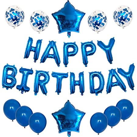 HAPPY BIRTHDAY BUNTING BANNER  SELF INFLATING BALLOON  PARTY DECOR FOIL BALLOONS