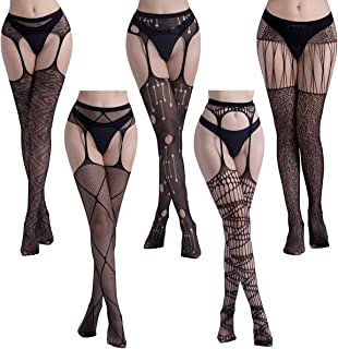 Women Fishnet Black Tights, Build-in Stockings Garter Belt Set Suspender Pantyhose Sheer (Blacktightsldu18)
