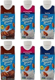 Almond Breeze Almondmilk 3 Flavor Sampler Bundle, (2) Each: Vanilla, Chocolate, Unsweetened Vanilla, 8 fl oz