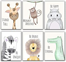 "Unframed Woodland Animals Art Print Adorable Giraffe Monkey Lion Zebra Dinosaur Paintings,Set of 6(8""x10"") Canvas Cartoon ..."