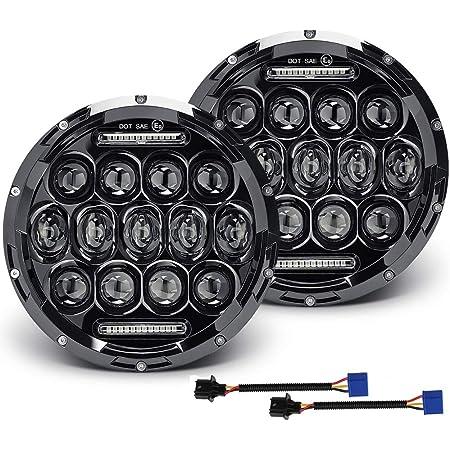 FOR CAMARO Z28 LT 7X7 H6024 ROUND CHROME HOUSING PROJECTOR LED HEADLIGHT+H4 BULB