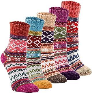 Macabolo, 5 pares de calcetines de lana gruesa para mujer, calcetines térmicos de lana de algodón, cálidos para invierno, otoño