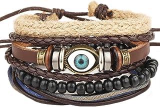 Bullidea Multiple Layers Retro Woven Cuff Elastic Bracelet Leather Bracelet Constellation Braided Beaded Rope Bracelet Ban...
