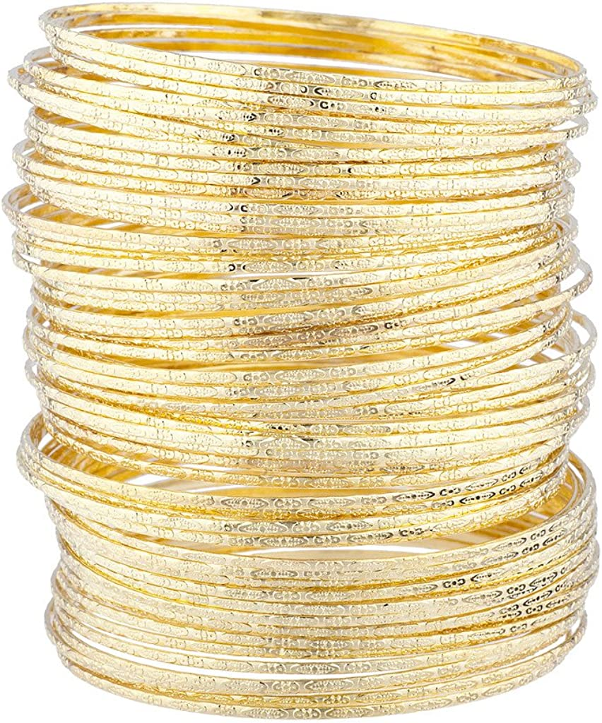 LUX ACCESSORIES Women's Girl's Gold Tone Textured Multiple Bangle Set